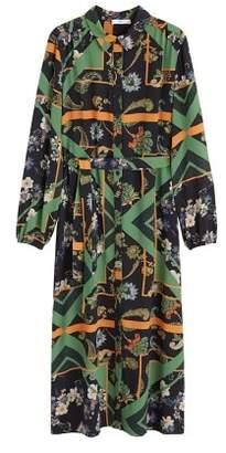 MANGO Scarf-print shirt dress