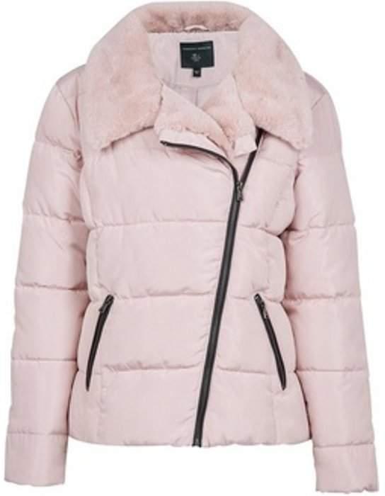 Womens Blush Asymmetric Faux Fur Collar Padded Jacket