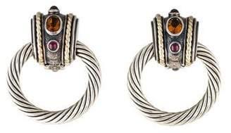 David Yurman Citrine & Tourmaline Door Knocker Earrings