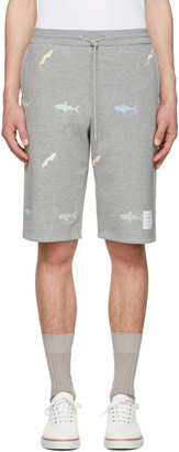 Thom Browne Grey Classic Shark & Surfboard Lounge Shorts $890 thestylecure.com