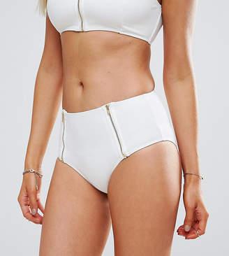 Wolfwhistle Wolf & Whistle White Textured Gold Zip Bikini Bottom