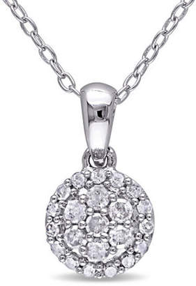 HBC CONCERTO Sterling Silver 0.25 TCW Diamond Halo Cluster Necklace