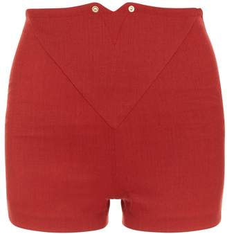 La Perla Daily Looks Rust Melange Cool-Wool High-Waist Shorts