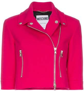 Moschino wool-blend zipped biker jacket