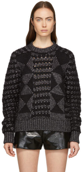 Black Pattern Lurex Sweater
