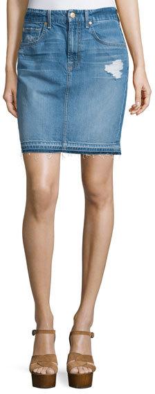 7 For All Mankind7 For All Mankind Denim Mini Skirt W/Released Hem, Blue