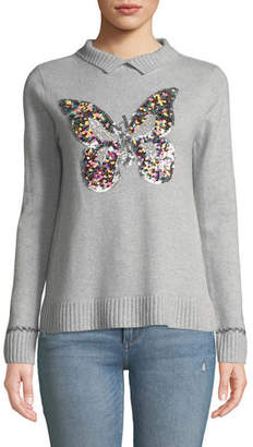 Lisa Todd Sequined Butterfly Cashmere Turtleneck Sweater