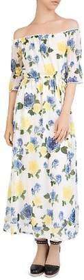 The Kooples Wild Roses Off-the-Shoulder Maxi Dress