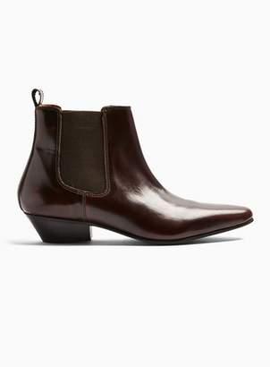 Topman Mens Red Burgundy Leather Hendrix Chelsea Boots