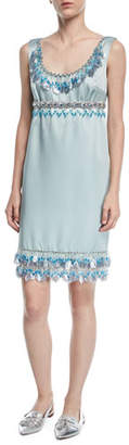 Marc Jacobs Sleeveless Beaded Duchess Satin Cocktail Dress