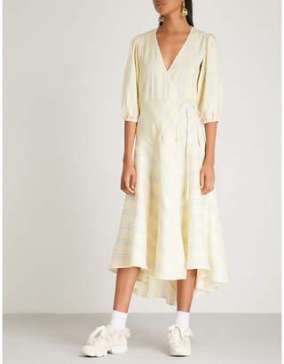Ganni Bergamot silk wrap dress