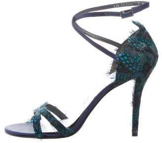 Stuart Weitzman Feather -Accented Crossover Sandals