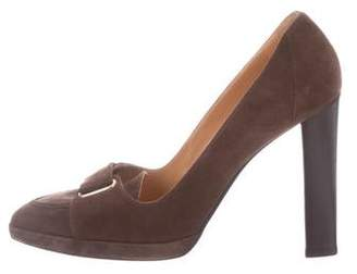 Hermes Pointed-Toe Suede Pumps