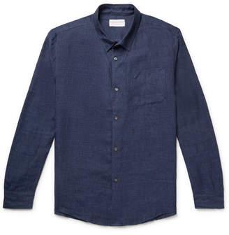 Derek Rose Monaco Slub Linen Shirt - Men - Navy