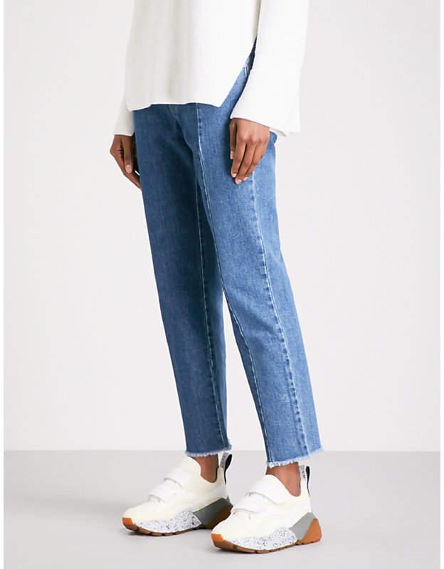 Patchwork boyfriend-fit mid-rise jeans