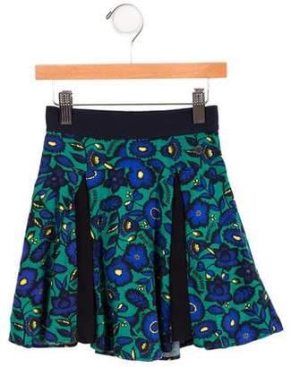 Kenzo Girls' Floral Print Pleated Skirt