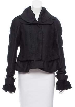 Rochas Long Sleeve Ruffle-Trimmed Jacket w/ Tags