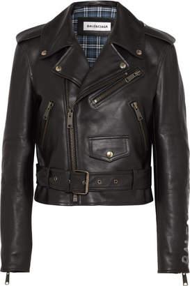 Balenciaga Cropped Printed Leather Biker Jacket - Black