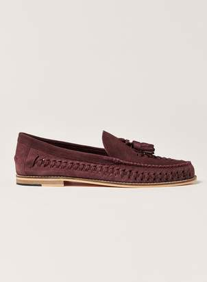 Topman Burgundy Suede Weave Mantis Loafers