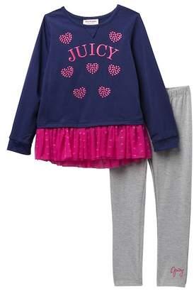 Juicy Couture Tulle Bottom Heart Tunic & Leggings Set (Toddler Girls)