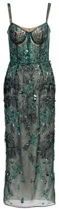 J. Mendel Leaf Applique Sheer Silk Cocktail Dress