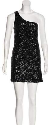 Alice + Olivia One-Shoulder Sequin Mini Dress