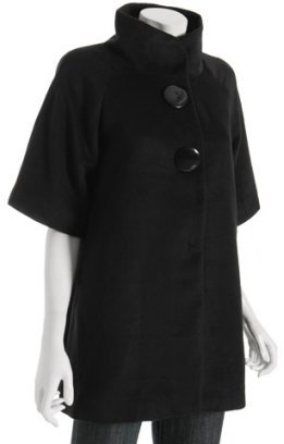 Priorities black poly-blend 'Sophia' trapeze coat