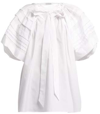 Cecilie Bahnsen - Paloma Pleated Sleeve Cotton Blouse - Womens - White
