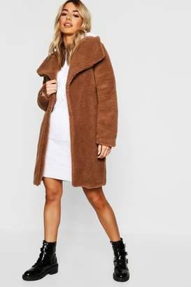 boohoo Petite Shawl Collar Teddy Coat