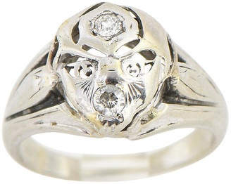 One Kings Lane Vintage White Gold & Diamond Face Ring - Owl's Roost Antiques