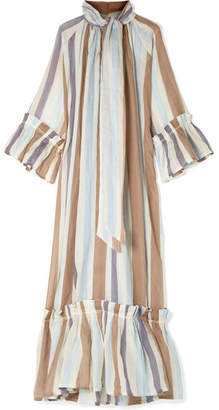 Yvonne S - Angelica Tiered Striped Linen Maxi Dress - Blue