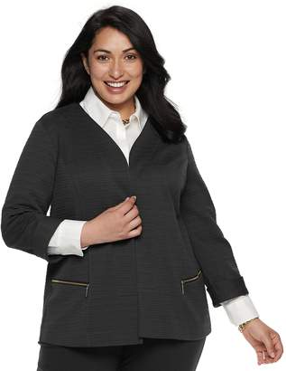 Dana Buchman Plus Size Textured Zipper-Pocket Jacket