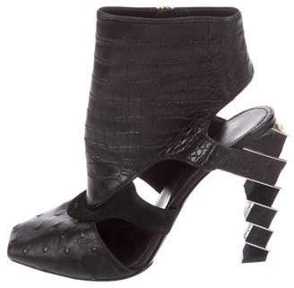 Salvatore Ferragamo Crocodile & Ostrich Ankle Boots