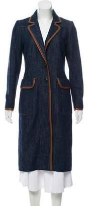 Prada Leather-Trimmed Longline Coat