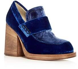 Marni Women's Mocassino Velvet Block Heel Loafers