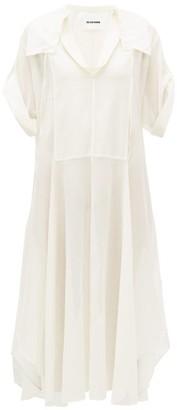 Jil Sander Cotton Blend Voile Shirtdress - Womens - Ivory