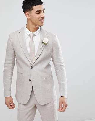 Benetton Wedding Regular Fit Linen Suit Jacket In Stone