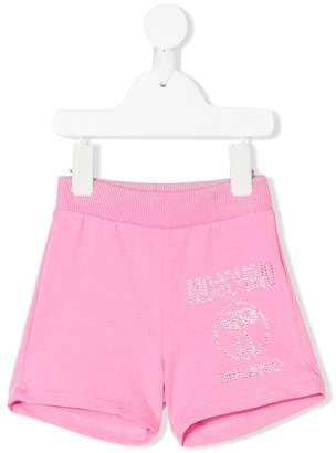 Moschino Kids crystal stud logo shorts