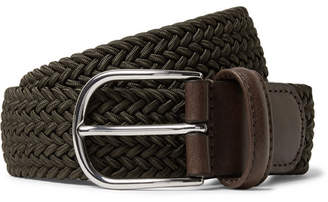 Andersons Anderson's - 3.5cm Green Leather-Trimmed Woven Elastic Belt - Green