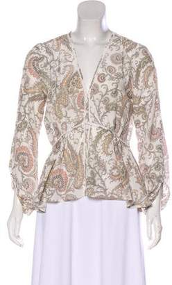Marchesa Voyage Asymmetrical Long Sleeve Top