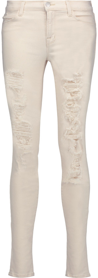 J BrandJ Brand 620 Super Skinny mid-rise distressed skinny jeans