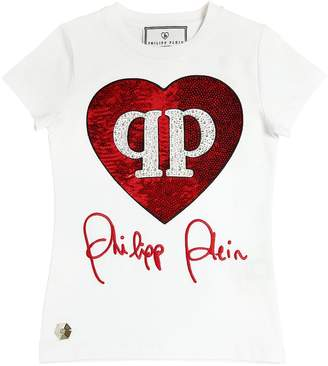 Philipp Plein Junior Sequined Cotton Jersey T-Shirt