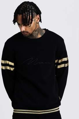 boohoo MAN Embroidered Sweat With Gold Rib