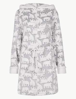 M&S Collection Textured Polar Bear Long Sleeve Dressing Gown