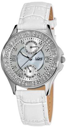 Burgi Women's BU44WT Diamond Embellished Silver-Tone Watch with White Croc-Textured Leather Band