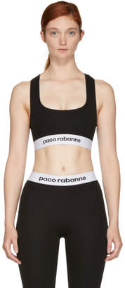 Paco Rabanne Black Elasticized Logo Sports Bra