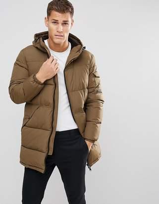 Esprit Long Padded Coat In Khaki