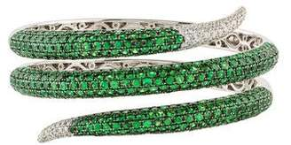 Roberto Coin 18K Tsavorite & Diamond Snake Coil Bangle