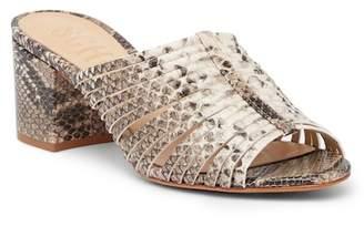 Schutz Cecillya Snake Embossed Block Heel Sandal