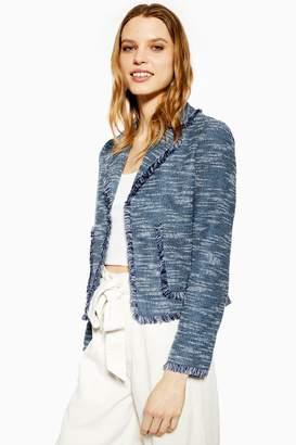 Topshop Womens Navy Fringe Jersey Boucle Jacket - Navy Blue
